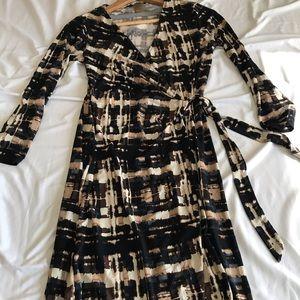 Tie dye faux wrap dress